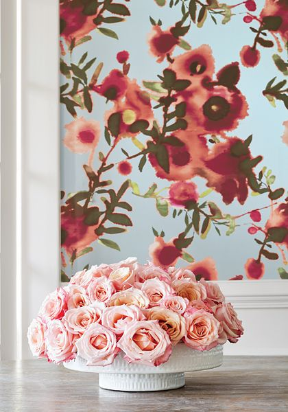 Thibaut Open Spaces Wallpaper In Aqua And Coral